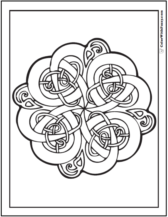 ColorWithFuzzy.com Celtic Knot Designs: Intertwined Celtic Knots Coloring Pages