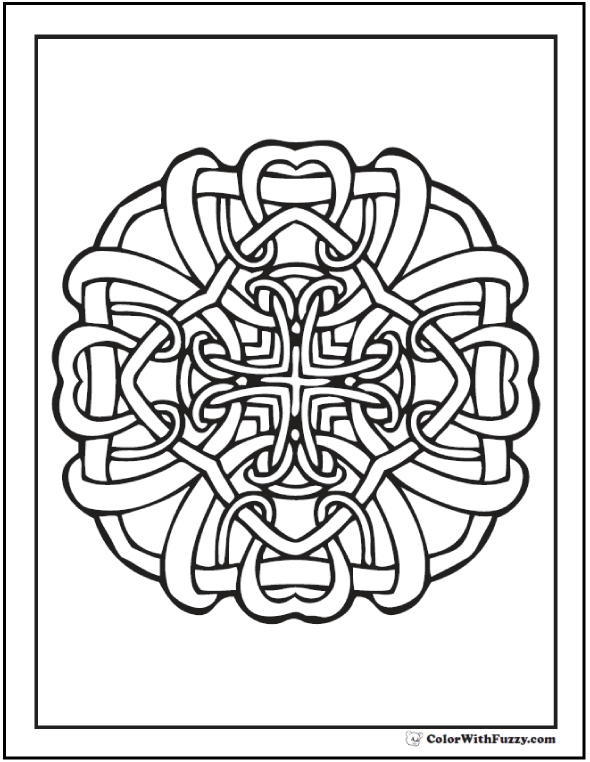 Celtic Knots Coloring Sheet to color twisted lines in a quad or cross pattern. 87+ #CelticColoringPages and #CelticDesigns at ColorWithFuzzy.com