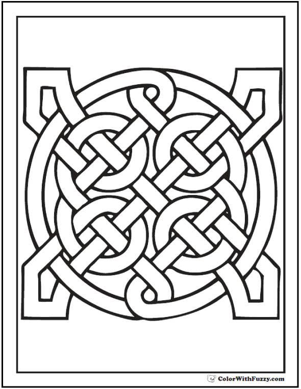 ColorWithFuzzy Celtic Coloring Pages Easy Pattern