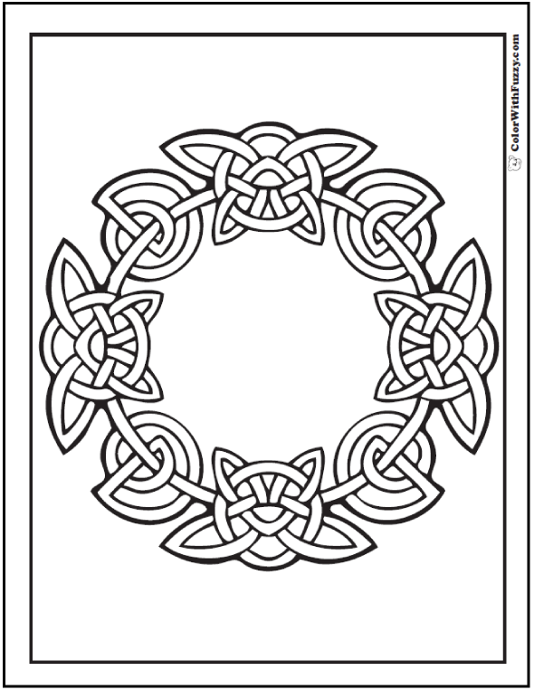ColorWithFuzzy.com Celtic Coloring Pages: Butterfly Celtic Ring Design
