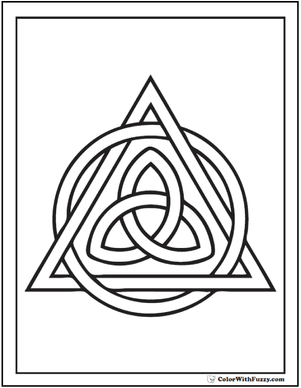 Celtic Triangle Coloring Page Trinity Knot And Circle