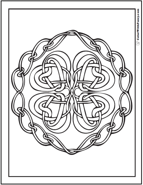 Chain Celtic Knots Designs: Four hearts in quad pattern with chain wreath surround. 87+ #CelticColoringPages and #CelticDesigns at ColorWithFuzzy.com