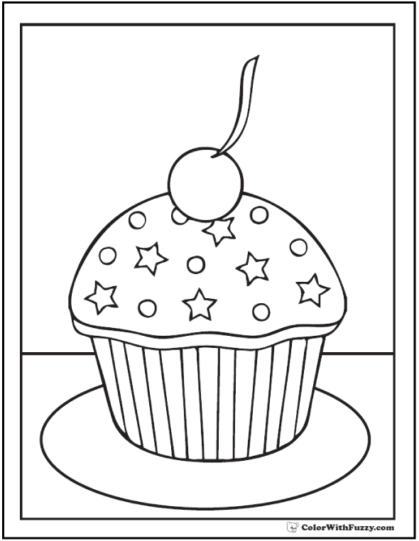 Stars and Cherry Cupcake Coloring Sheet