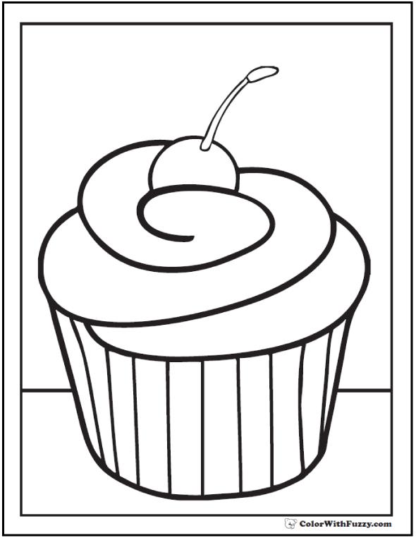 Cherry Cupcake Coloring Sheet