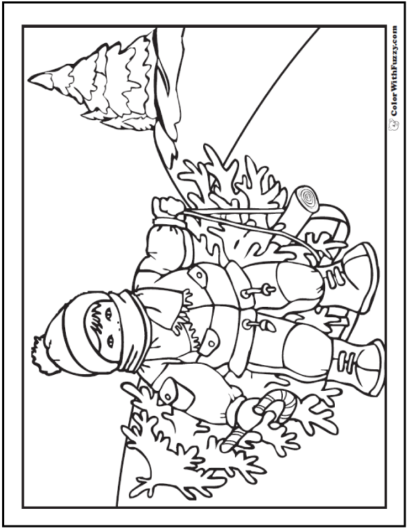 Christmas Tree Coloring Pages: Child Cut Christmas Tree Printable