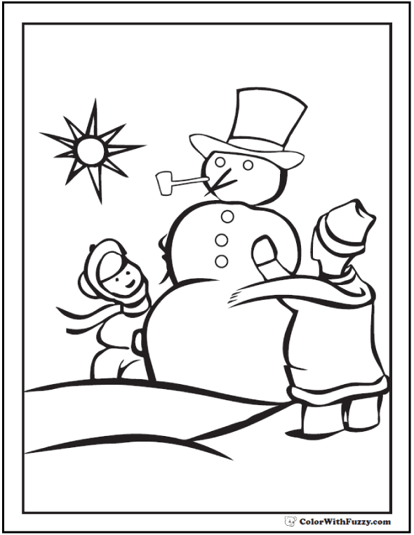 Children And Snowman Coloring Sheet