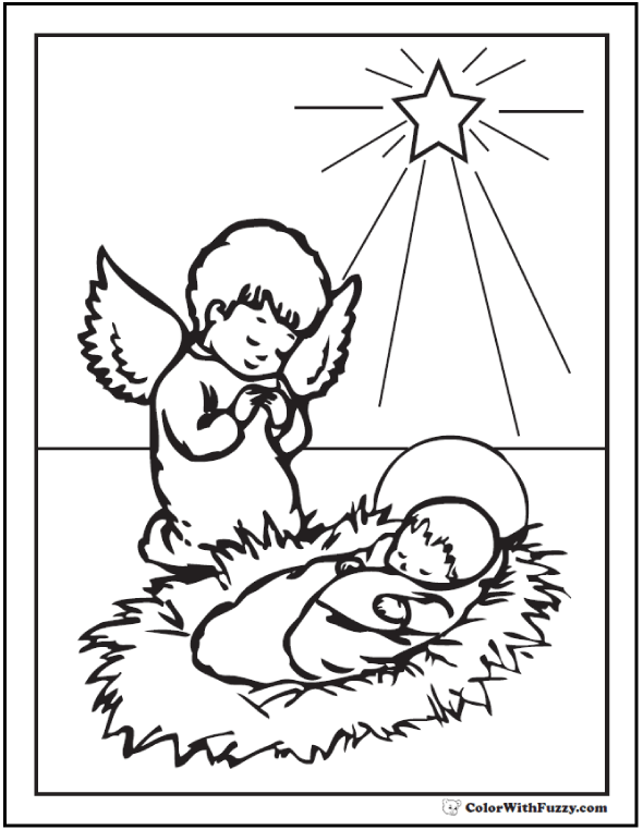 Christmas Angel Coloring Pages: Kneeling Angel, Baby Jesus, and Star