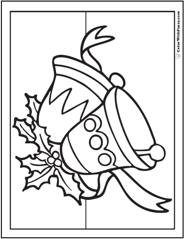 Christmas Bell Coloring Page: Holly and ribbon.