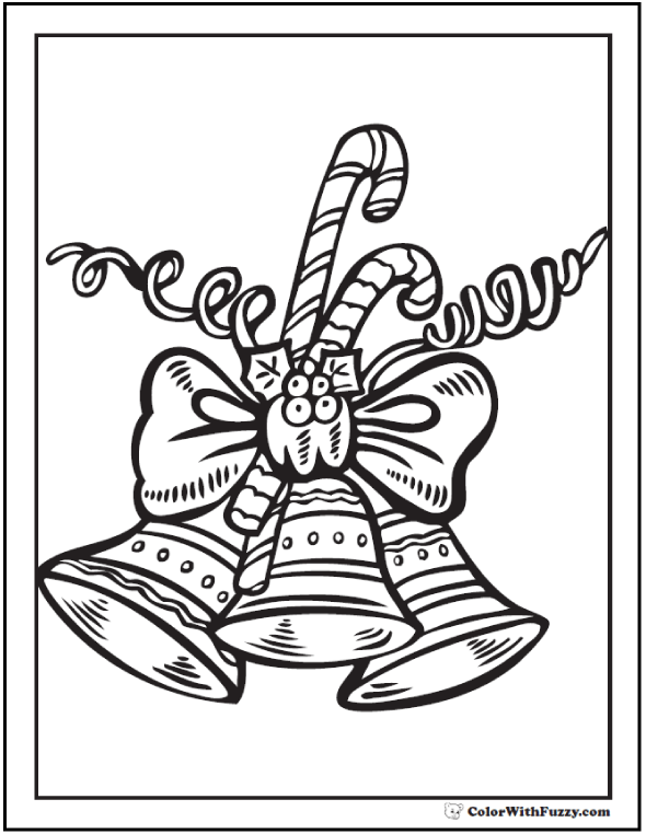 Christmas Bells Coloring Pages: Candy canes, holly, curls, ribbon with three bells.