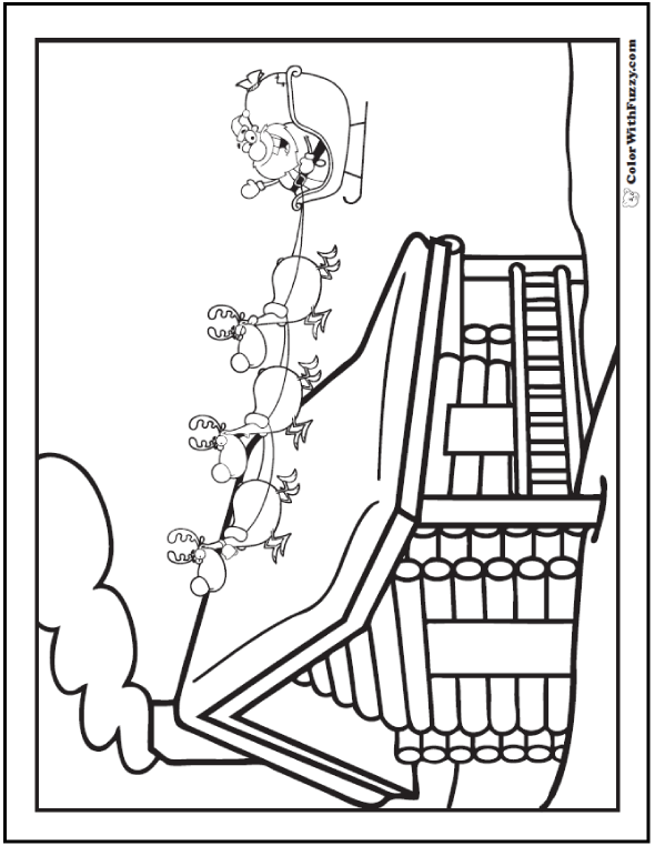 Christmas Coloring Pages For Kids: Santa in his sleigh over log cabin.