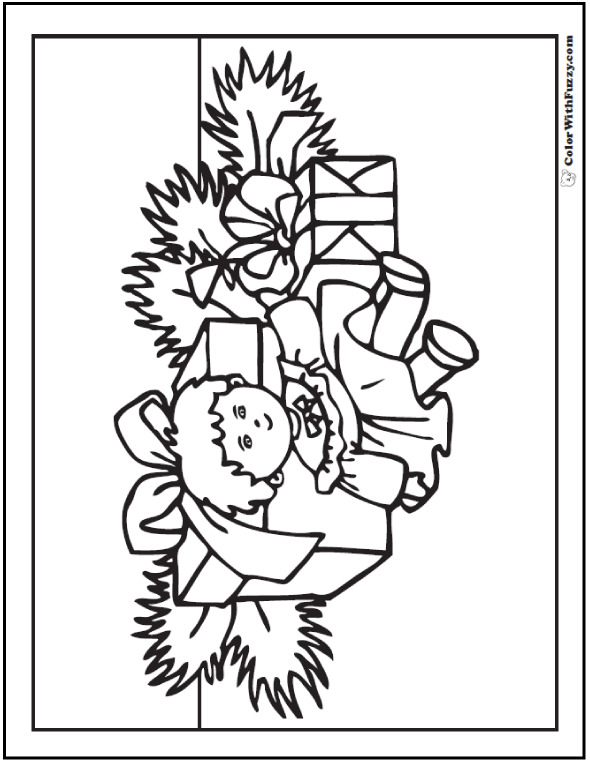 Christmas Coloring Pages: Doll and gifts under tree.