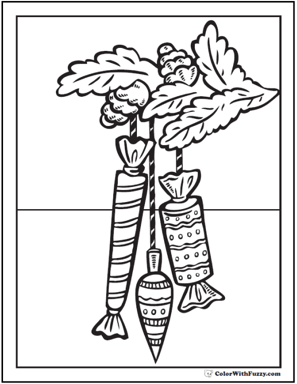 Christmas Coloring Sheet: Candy ornaments in pine bough.