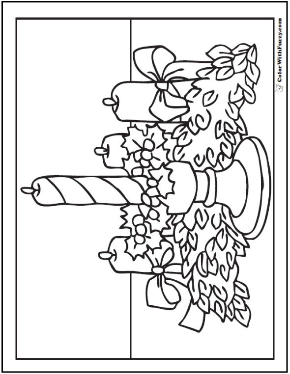 Christmas Coloring Sheets: Advent Candles And Garland