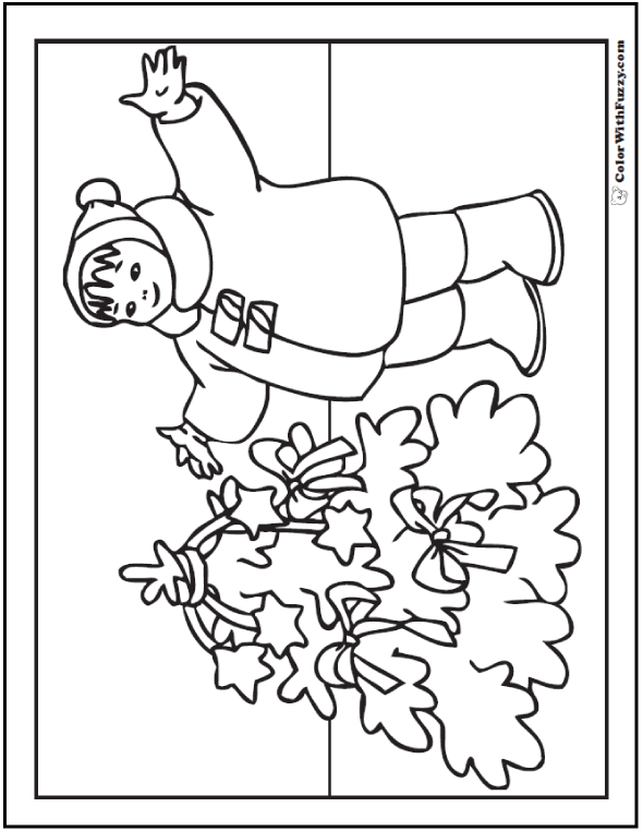 Christmas Coloring Picture: Child and Christmas tree with stars and ribbons.