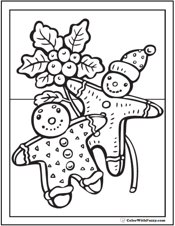 Christmas Gingerbread Men To Color