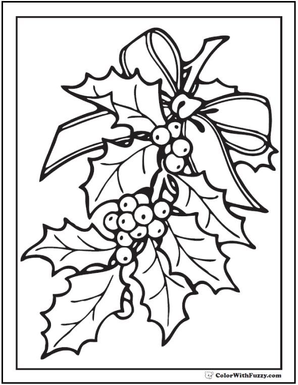 Christmas Holly Coloring Sheet