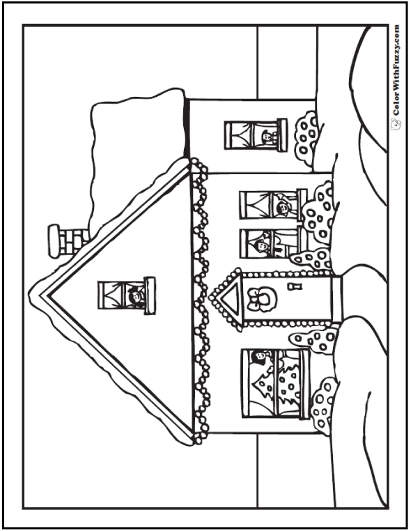 Christmas House Coloring Sheet: Family, Christmas lights, and snow.