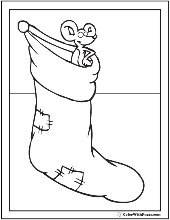 Christmas Mouse Stocking To Color