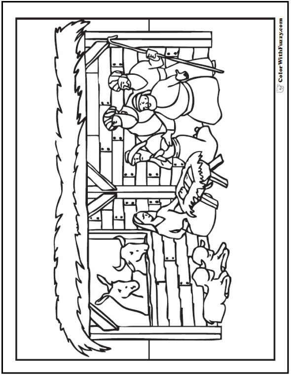 Christmas Nativity Coloring Page: Stable Scene