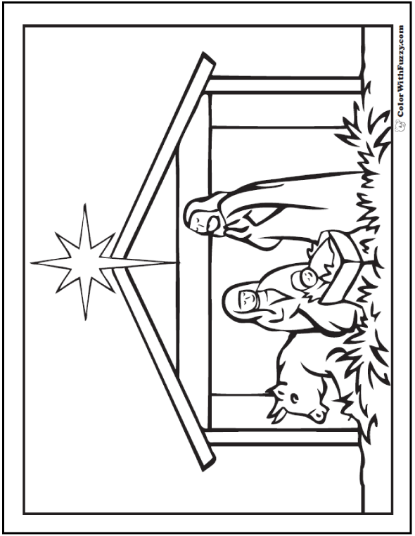 Christmas Nativity Scene Coloring Picture