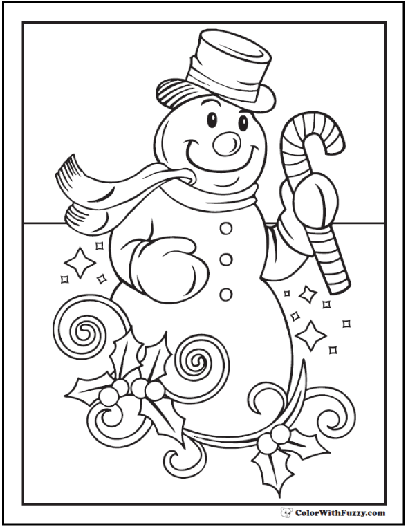 Christmas Snowman Coloring Sheet: Top hat, Cane, and Holly.