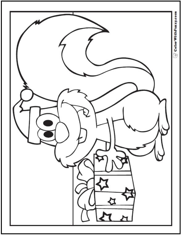 Christmas Squirrel Coloring Sheet: Santa hat and present.
