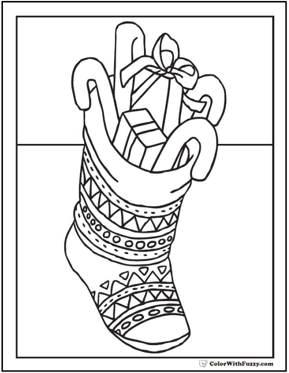 Christmas Stocking Candy Coloring Sheet
