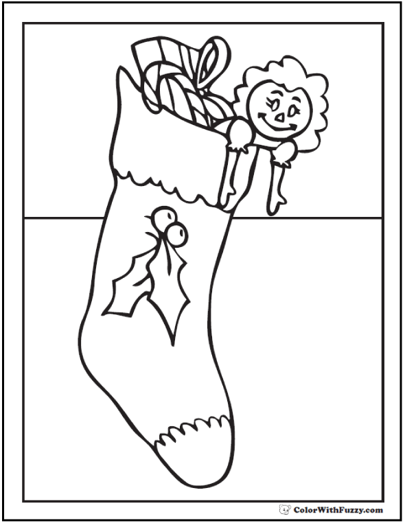 Christmas Stocking Coloring Sheet