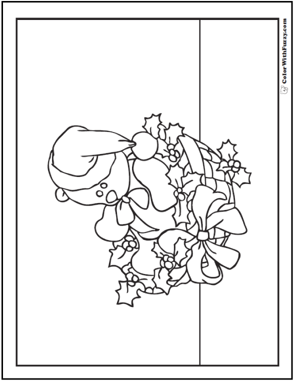 Christmas Teddy Bear Coloring Sheet