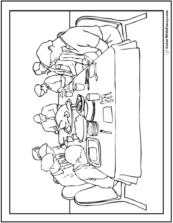 coloring pages dinner - photo#21
