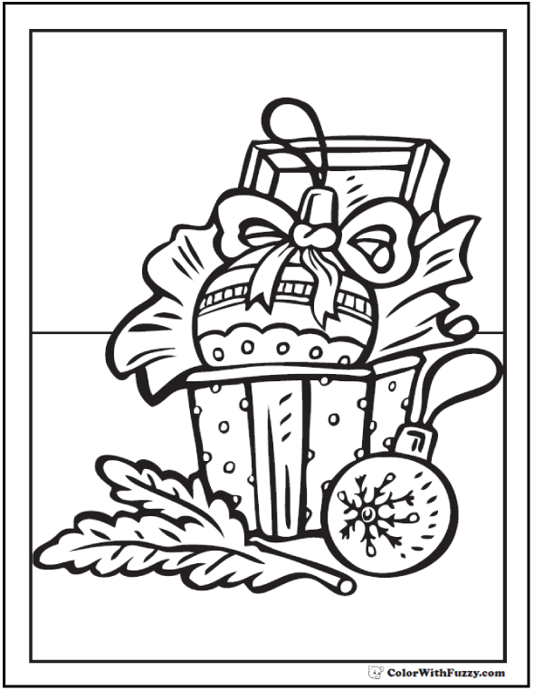 Christmas Treasures Coloring Picture: Ornaments, Ribbon, Treasure Box