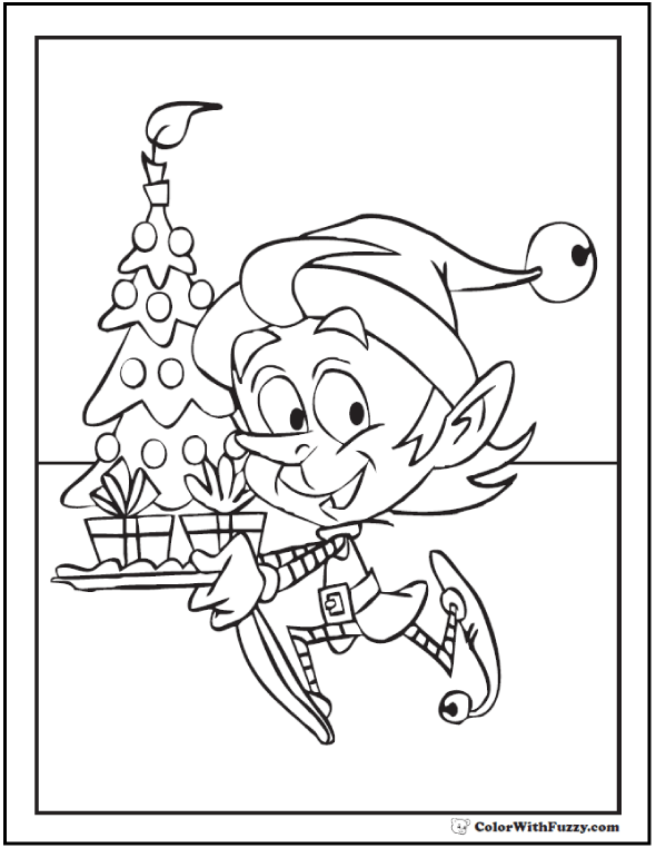 Christmas Tree Cake Coloring Page: elf, candle, gifts.