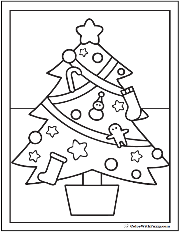 Christmas Tree Coloring Page: Stars, Gingerbread men, snowmen, stockings.