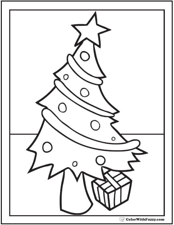 Christmas Tree Coloring Pages To Print: Leaning tree with star, ornaments, garland, gift.
