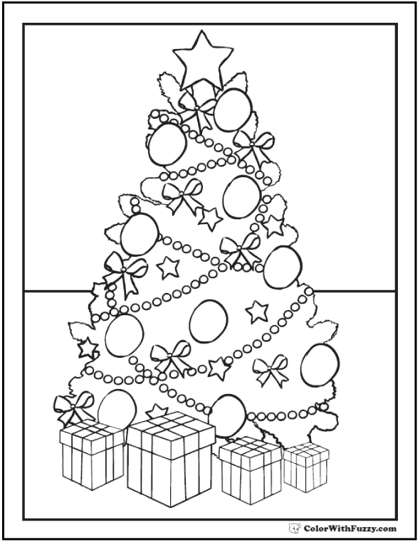 Christmas Tree Coloring Pages: Gifts, ornaments, bows, garland.