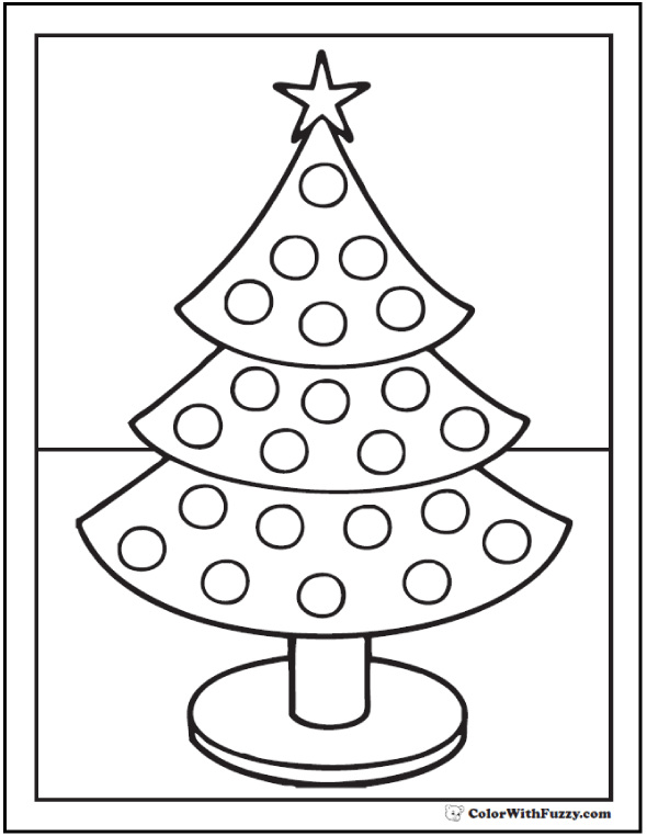 Christmas Tree Coloring Sheet: Tree with stand.