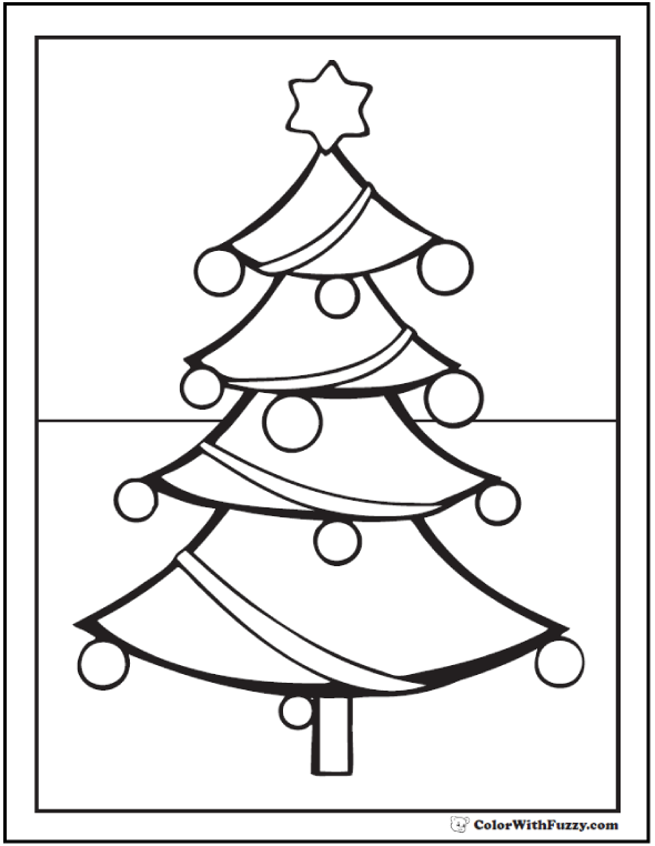 Christmas Tree Coloring Sheets: Preschool and Kindergarten.