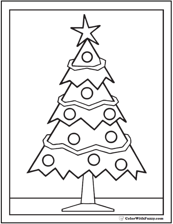 Straight Christmas Tree Coloring Image