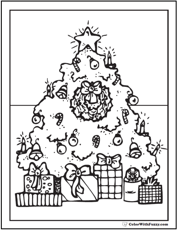Christmas Tree Coloring Pages: Christmas Tree and Gifts Coloring
