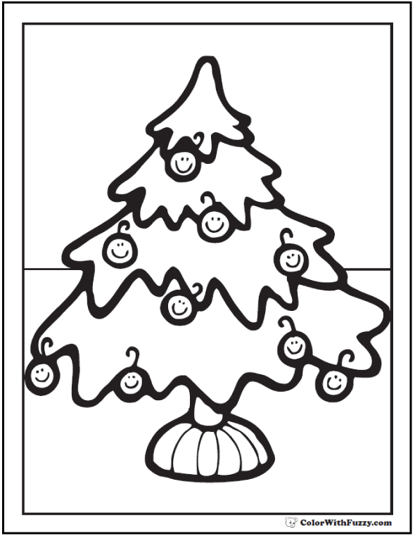Christmas Tree Ornaments Coloring Printable: Smiley face ornaments.