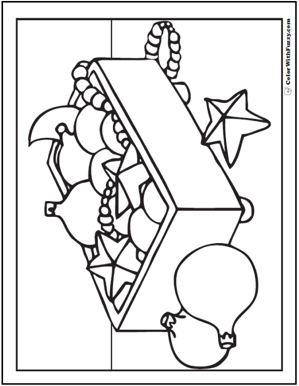Christmas Tree Ornaments To Color: stars, balls, beads, garland in box.