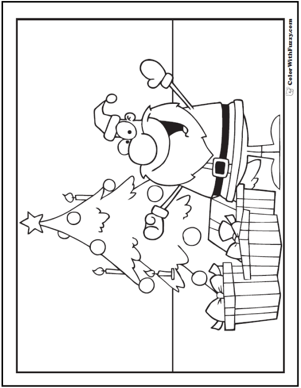 Christmas Tree Santa To Color: tree, gifts, decorations.
