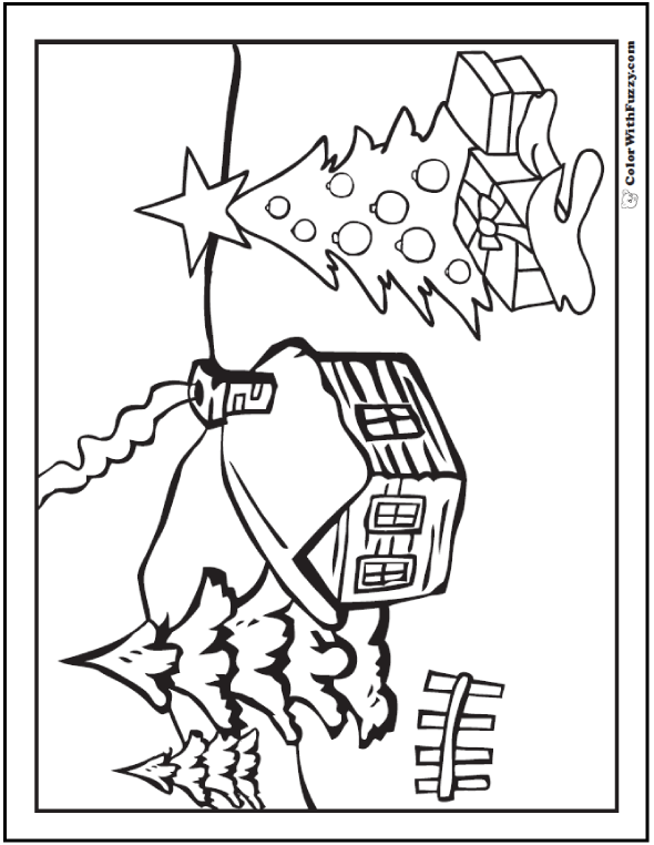 Christmas Tree Snow Gifts Coloring Picture