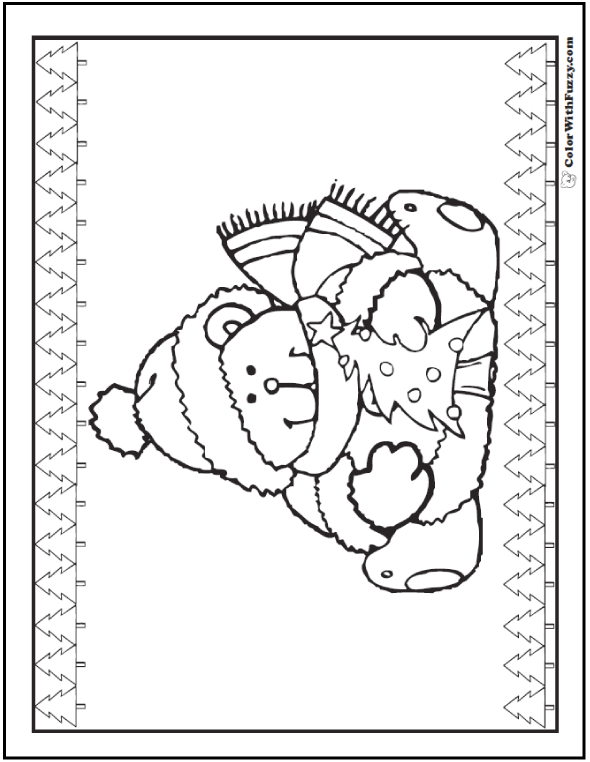 christmas tree teddy bear with a christmas tree - Teddy Bear Coloring Pages