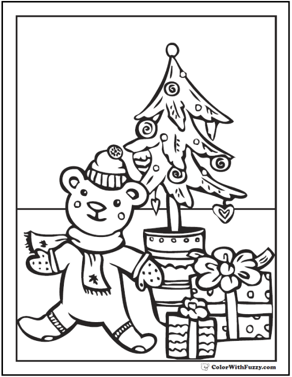 Christmas Tree Coloring Pages With A Teddy Bear Merry