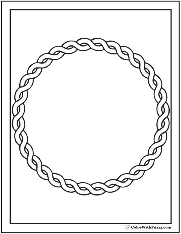 ColorWithFuzzy.com Celtic Coloring Pages: Wreathed Twist Circle Celtic Coloring Page