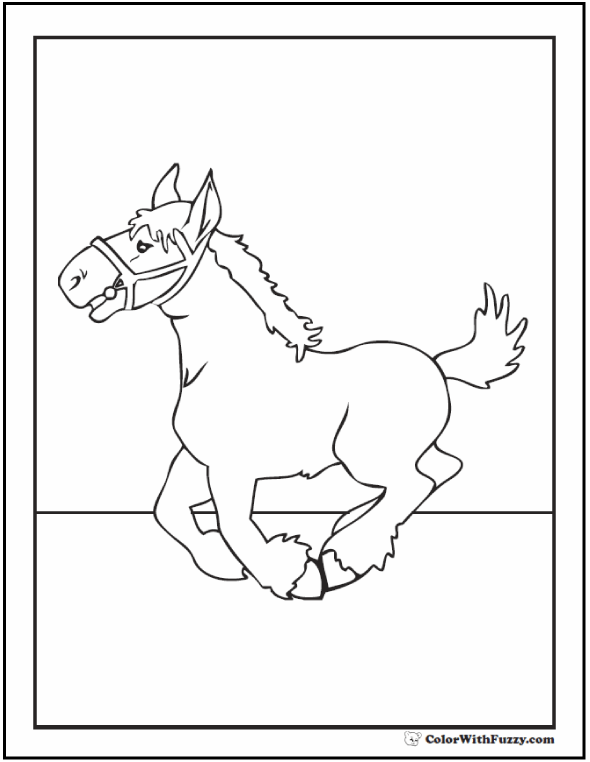 Clydesdale Horse Coloring Page: Cute Clydesdale colt or draft horse.