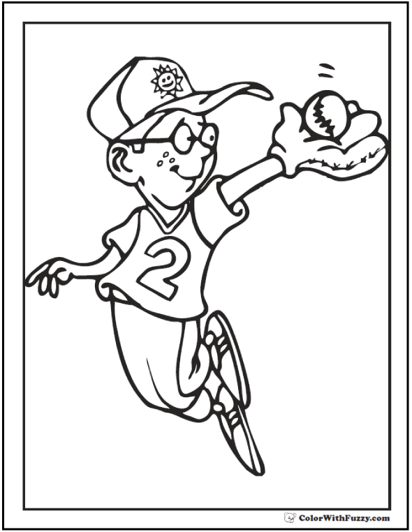 Outfield Baseball Coloring Sheets