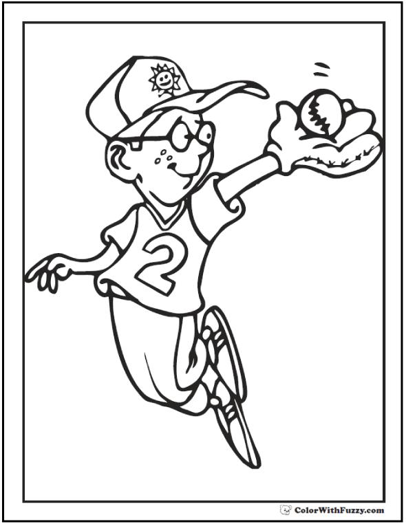 Outfield Baseball Coloring Sheets