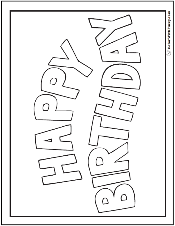 Coloring Birthday Cards - Happy Birthday Banner.